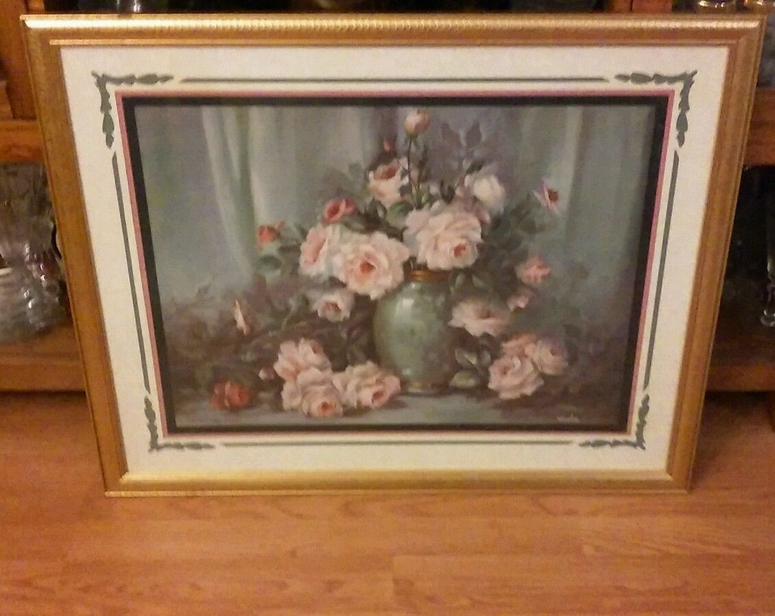 Vtg Homco Home Interiors Victorian Pink Roses Fan Burgundy Picture