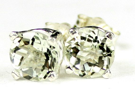 SE012, Green Amethyst (Prasiolite), 925 Sterling Silver Post Earrings * Stone Type - Green Amethyst (Prasiolite) * Approximate Stone Size - 6mm  * Approximate Stone Weight - 2 ct (1 carat each stone) * Jewelry Metal - Solid 925 Sterling Silver * Our Warranty - A full year on workmanship  * Our Guarantee - Totally unconditional 30 day guarantee