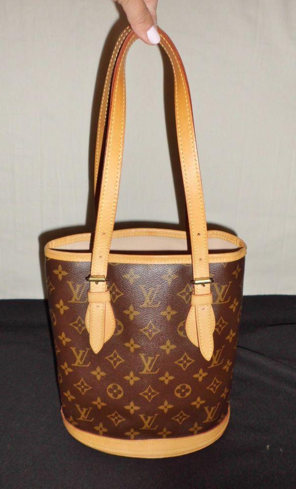 Louis Vuitton Monogram Brown Petit Bucket Bag *Authentic ...