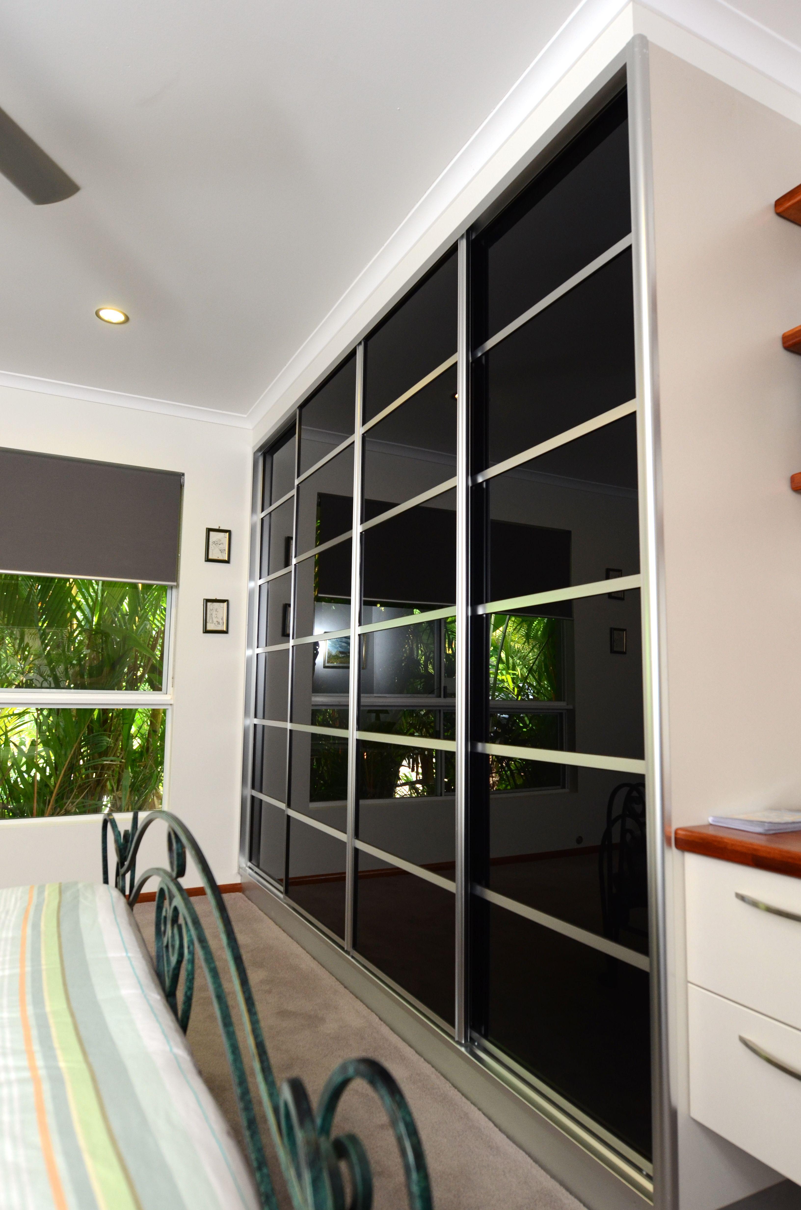 Sliding Closet Doors, 6 Panel black glass with matt silver ...