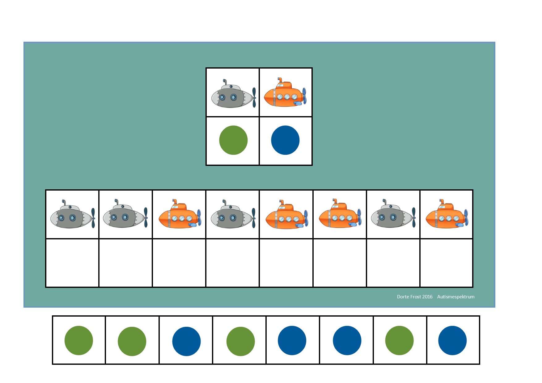 Board And Tiles For The Submarine Visual Perception Game