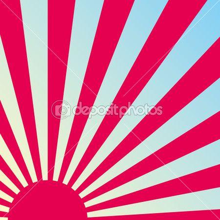 Fondo Japonés retro abstracto del amanecer. Vector — Ilustración de stock #14066945