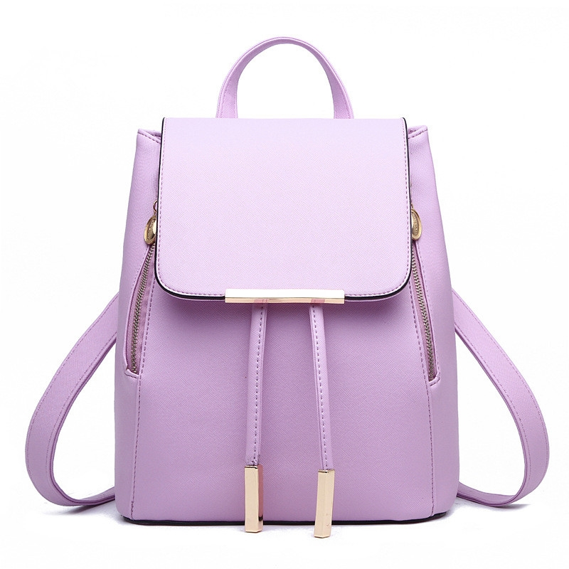 56.01$  Buy here - http://aidko.worlditems.win/all/product.php?id=32793380887 - Casual PU Women Backpacks Traveling Bag Elegant Violet Girl's Schoolbag Adjustable Straps Zipper