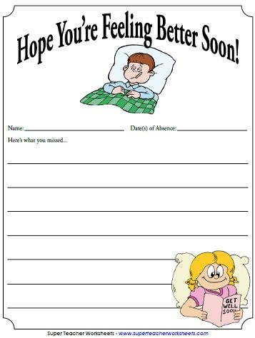 Note For Absent Students Hope You Re Feeling Better Super Teacher Worksheets Teacher Documentation Teaching Classroom Teacher sites for worksheets