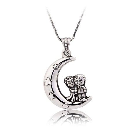 Love under the moon and stars silver necklace