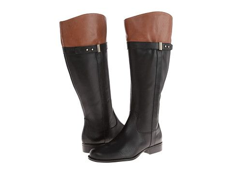 Womens Boots Naturalizer Josette Wide Calf Black/Banana Bread Wide Shaft Leather