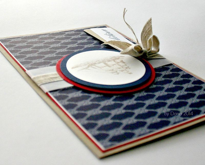 Nautical card with linen thread by Dana from www.my-beautiful-paper.de