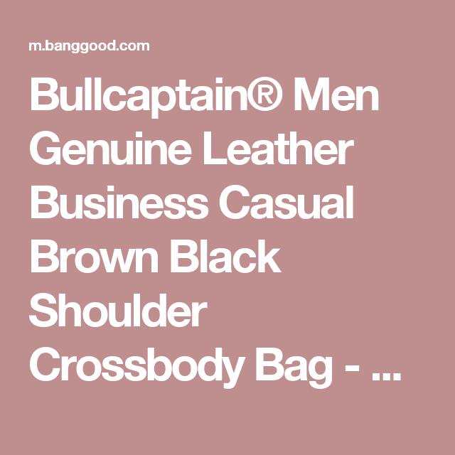 604f1d482c Bullcaptain® Men Genuine Leather Business Casual Brown Black Shoulder  Crossbody Bag - Banggood Mobile