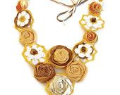 Crochet daisy floral necklace with rolled fabric roses sunset Autumn colors