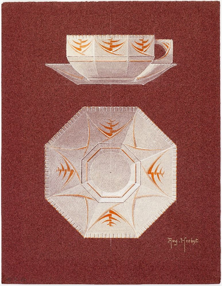 Design for an art deco teacup & saucer. Designed by Auguste Herbst, 1925.