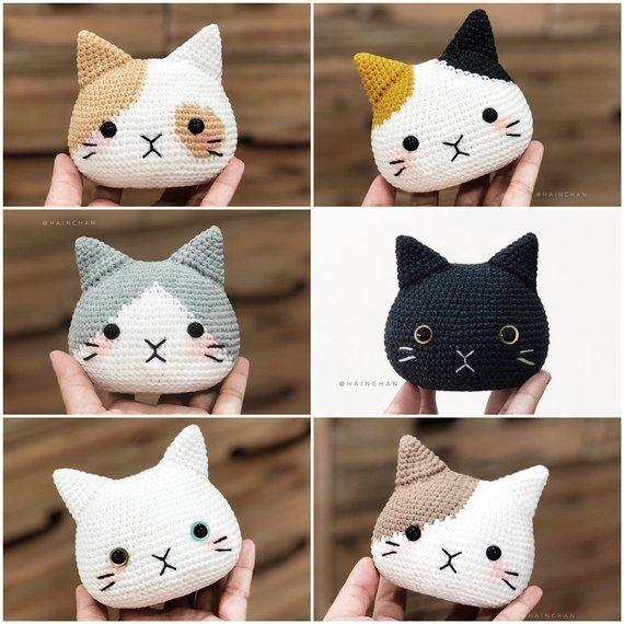 4 Cat Head Crochet PDF pattern, instant download