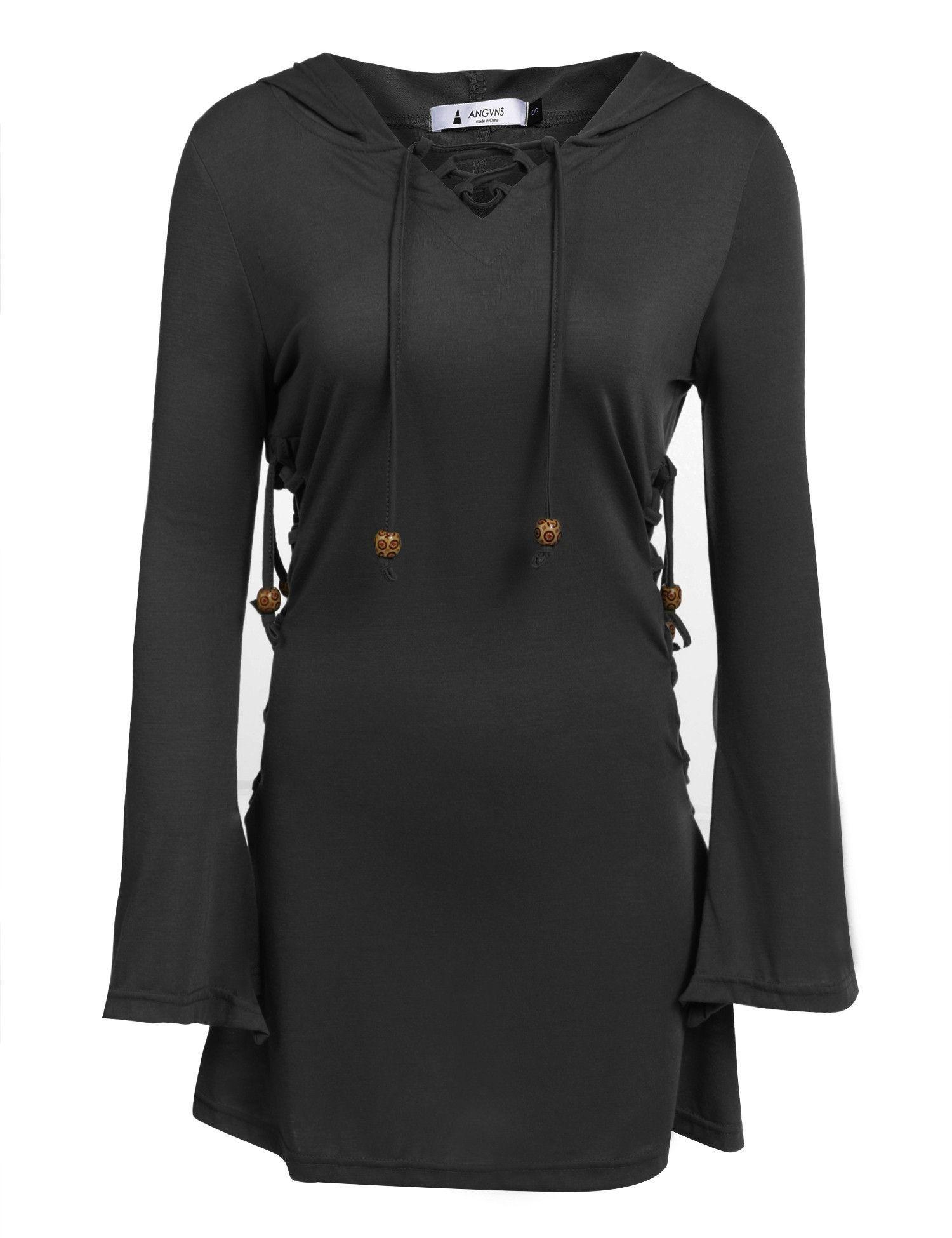 Black vneck long sleeve solid lace up hoodie mini dress