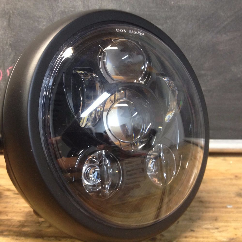 "6"" led six projector black headlight side mount cafe racer cb350"