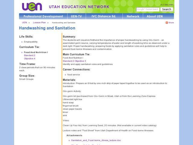 Handwashing and Sanitation 9th - 12th Grade Lesson Plan Lesson - health lesson plan