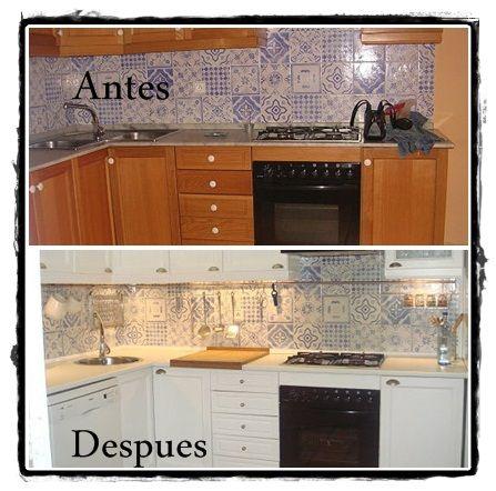 Antes y despues de pintar los muebles de cocina cocinas - Pintar encimera cocina ...