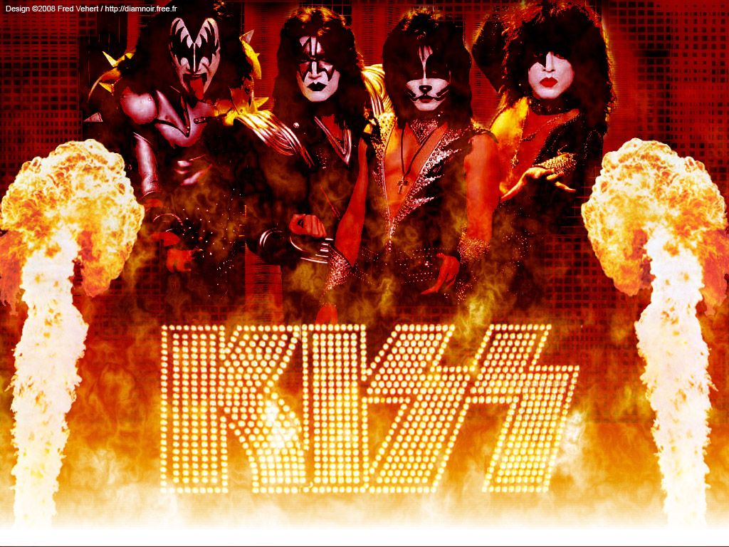 Kiss Band Fire Wallpaper with Resolution  Kiss  Pinterest  Snowflakes, The ojays and Of