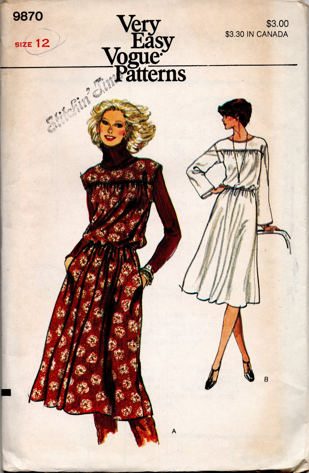 1970s Vintage Vogue Pattern Dress 9870 Size 12 Bust 34 Etsy
