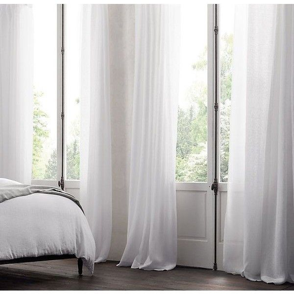 Belgian Sheer Linen Drapery | polyvore | Pinterest ❤ liked on Polyvore featuring home, home decor, window treatments и curtains