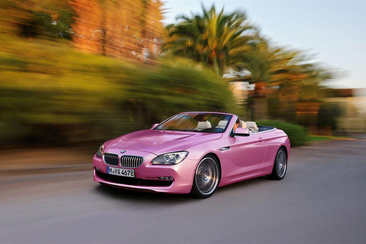 Pink bmw 6 series convertible