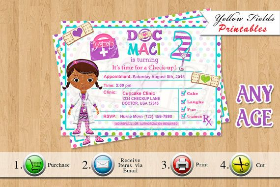 Doctor Prescription Invitation, Doctor Invitation, Doc McstuffinsTheme Birthday, Doc Party - Style 2- Printables **********NO PHYSICAL ITEMS