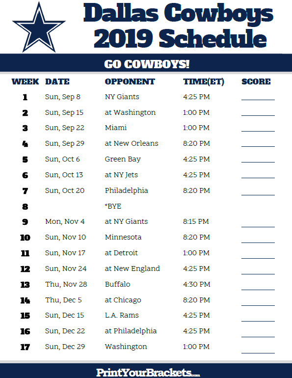 Dallas Cowboys Schedule For 2019 Printable Dallas Cowboys Schedule   2019 Season | Printable NFL