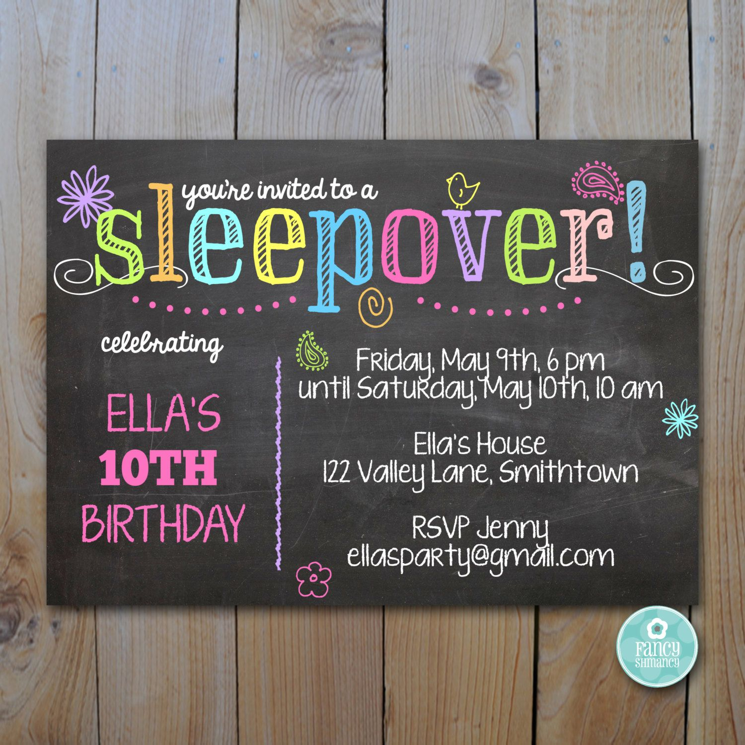 Sleepover Invitation / Chalkboard Sleepover Party / Instant Download ...