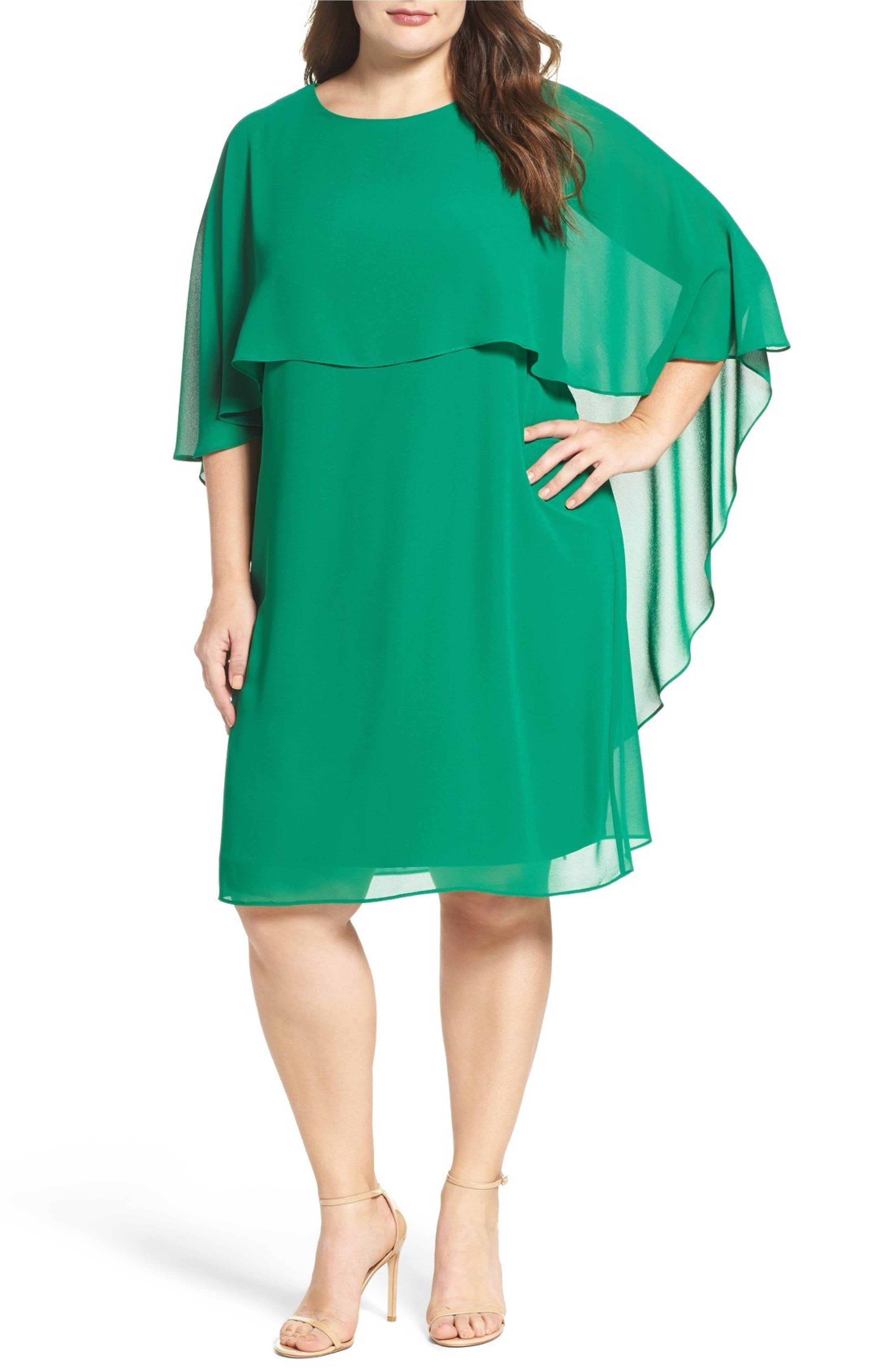 Main Image Vince Camuto Chiffon Cape Sheath Dress Plus Size Plus Size Dresses Plus Size Outfits Clothes Design [ 4320 x 2816 Pixel ]