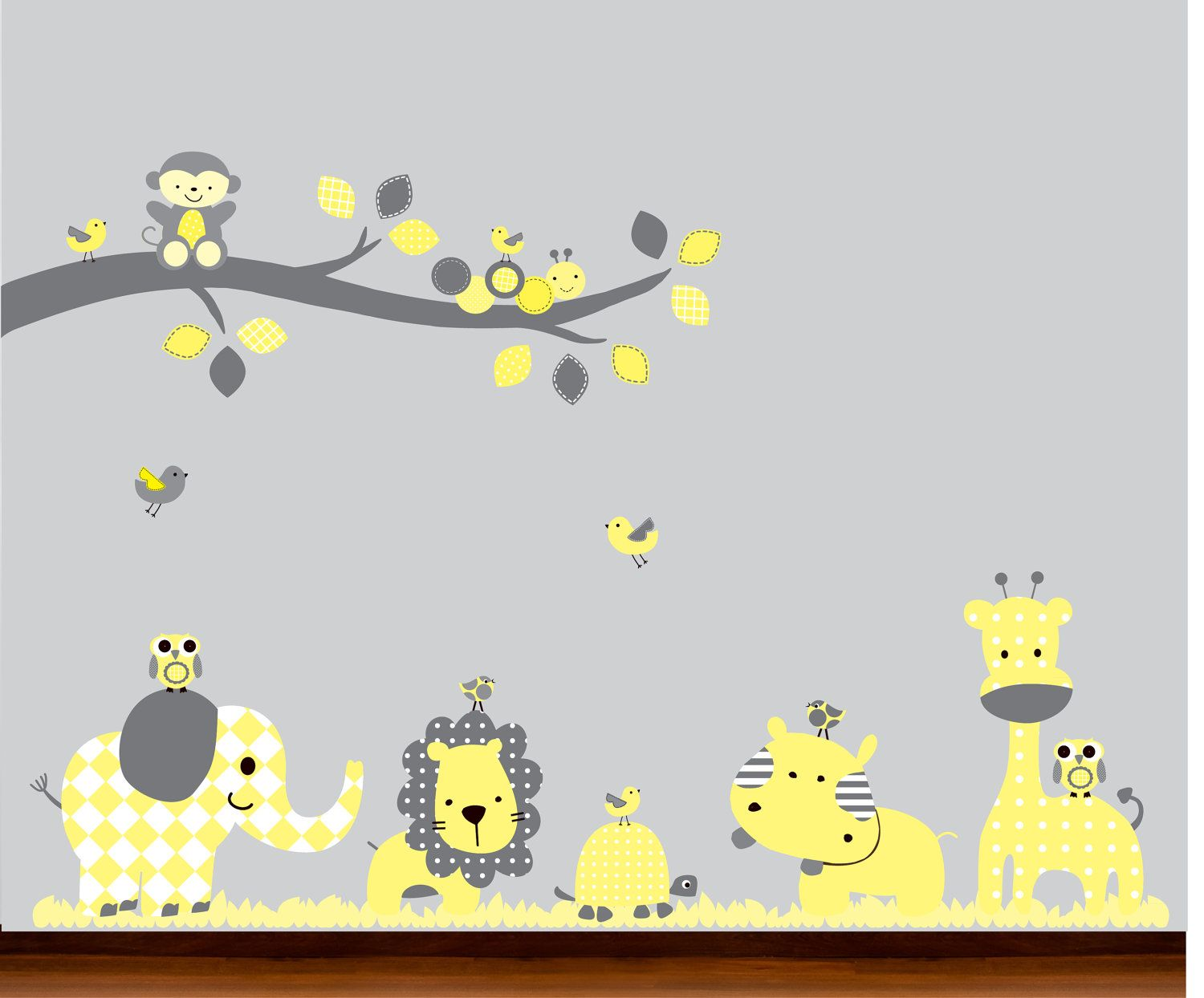 Yellow and Gray Modern Baby Nursery Jungle Dot by WhimsyWallArt, $129.00