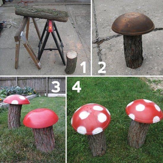 Gartenideen Alte Sachen Pilze Schale Rot Bemalen Holzscheite Deko ... Gartendeko Aus Alten Sachen Ideen