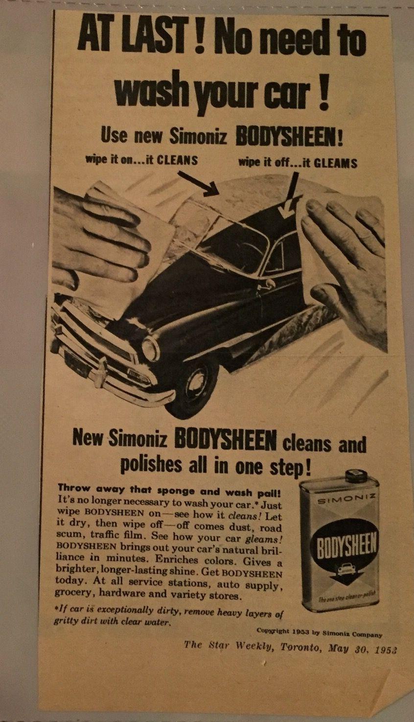 50s simoniz car wash ad vintage advertisements car