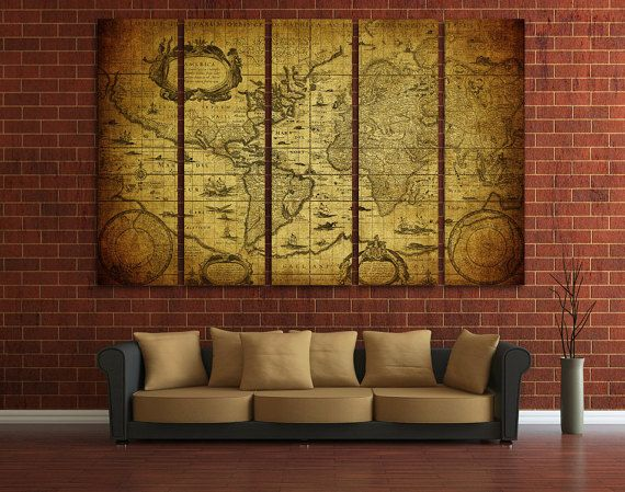 Large wall art ancient world map canvas print large world vintage large wall art ancient world map canvas print large world vintage map wall art gumiabroncs Images