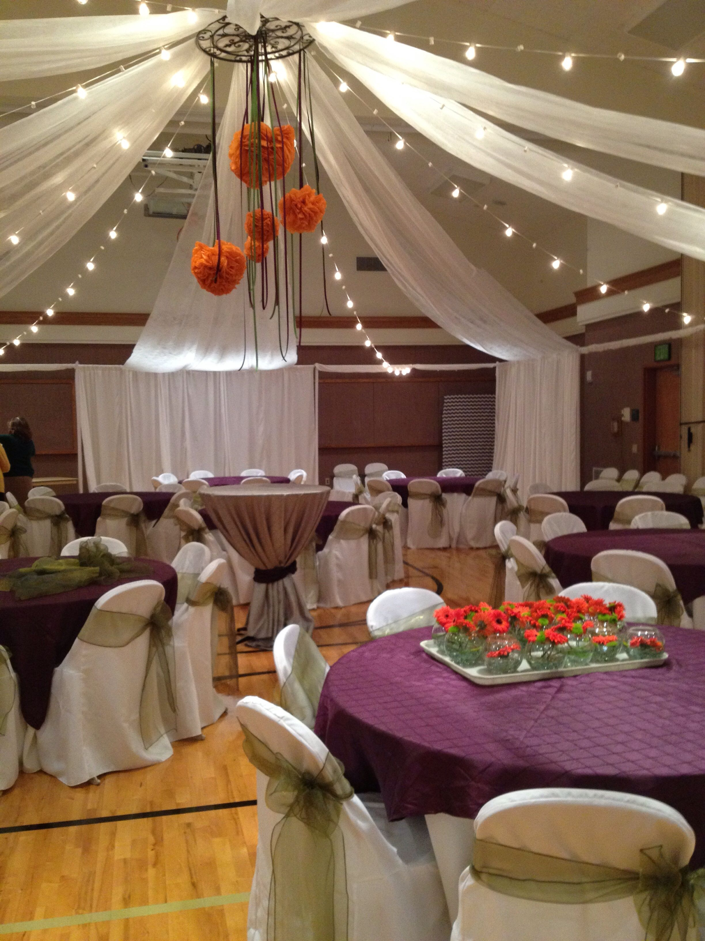 Event Masters Decor Ceiling treatments can transform the space  Cultural HallGym Wedding