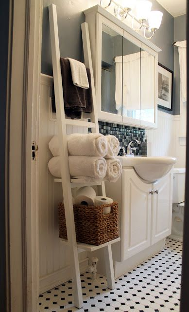 Ladder Shelf Turned Bathroom Towel & Storage Rack  Possible Delectable Storage For Towels In Small Bathroom Inspiration Design