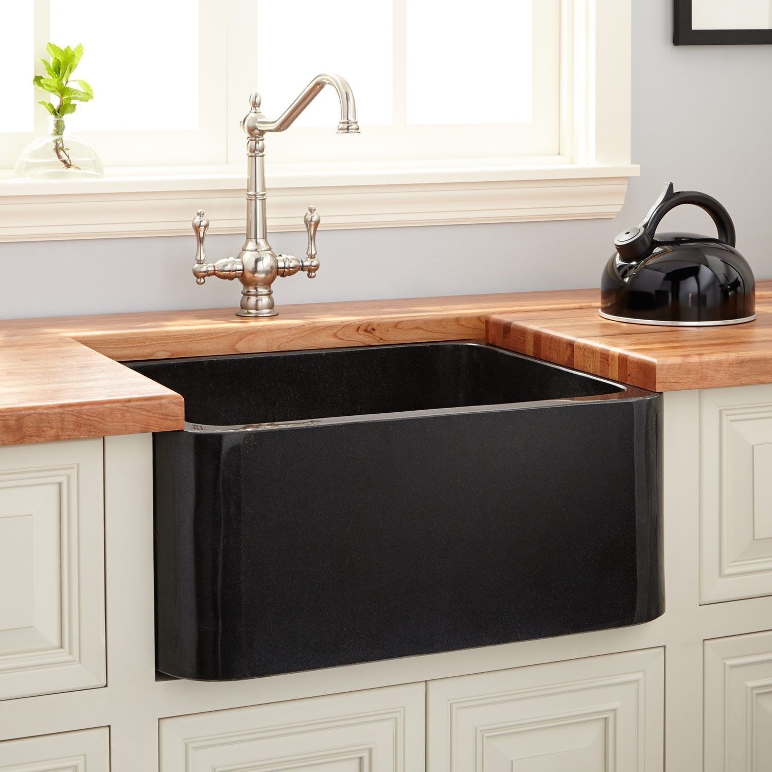 Kitchen Hardware Fixtures and Decor | Signature Hardware 24 Polished Granite Farmhouse Sink  Black #Decor #Fixtures #Hardware #Kitchen #Signature ...s of transactions price is naturally an important issue. For black kitchen sinks the pricing would slightly vary from one manufacturer to another. O...of stains like the ones caused by your Kool-Aid juice and red wine. Plus enameled black sinks are also relatively very easy to wipe clean because of #diy.farmhouseinteriors.club #farmhouse-sink-black
