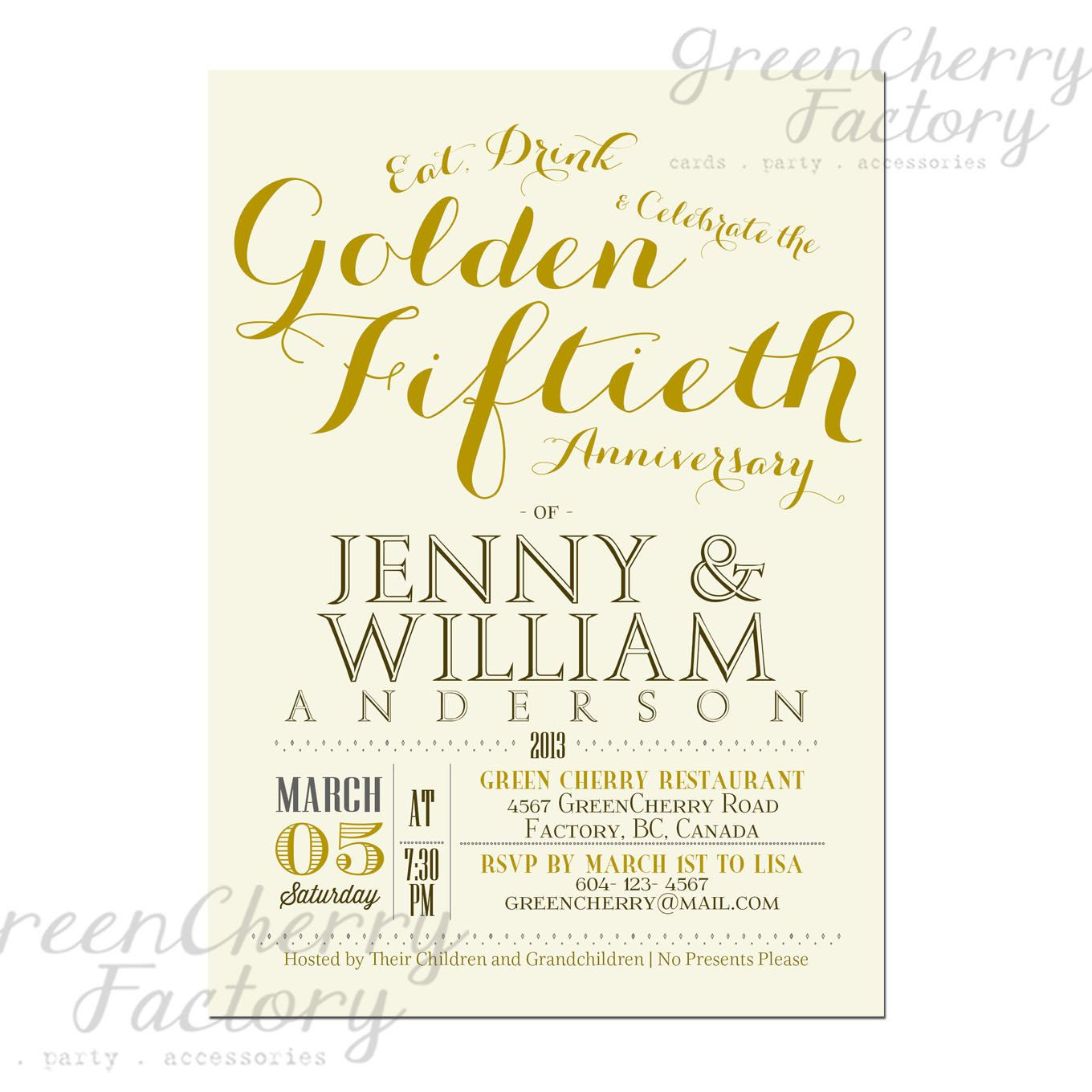 Golden 50th Wedding Anniversary Invitation Idea - font idea ...