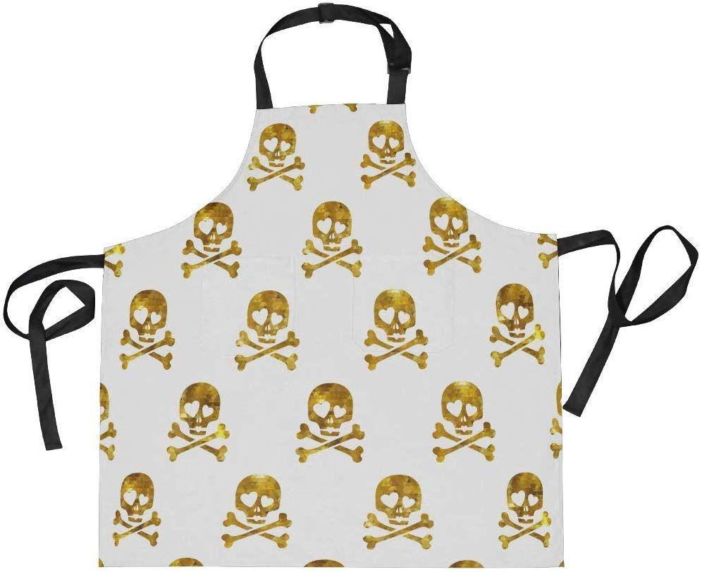 Skull Apron Unisex Kitchen Bib with Adjustable Neck Cooking Baking