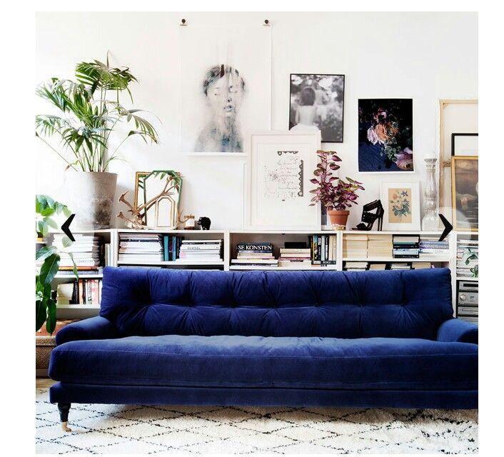Blue Sofa Living Room Design Best Bookshelf Behind Sofa  Home  Interiors  Pinterest  Living Design Inspiration