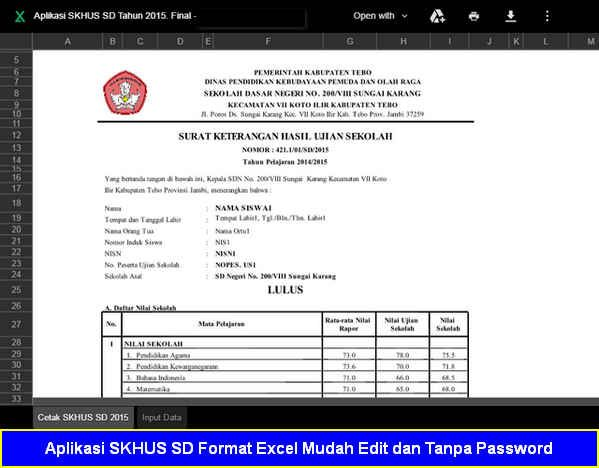 Download Gratis Aplikasi SKHUS SD Format Excel yang mudah Edit - sample of excel spreadsheet