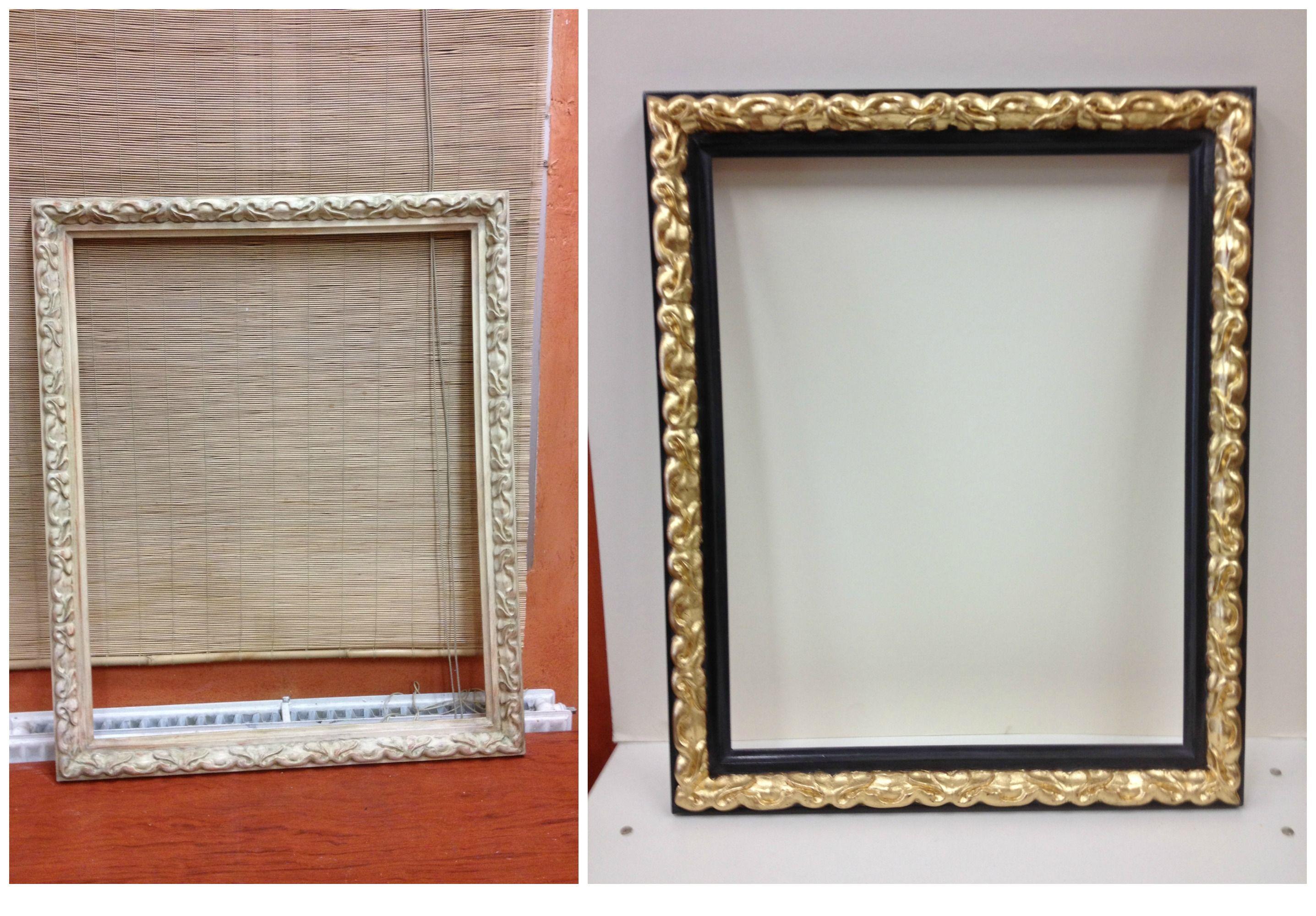 Reciclaje de #marco mediante técnicas de #dorado y #pintura ...