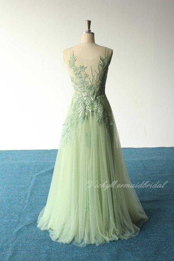 737a0889c Unique romantic sage aline tulle lace wedding dress