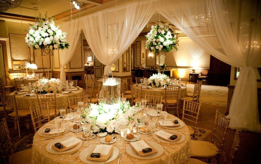 Wedding Reception Table  Gold & White