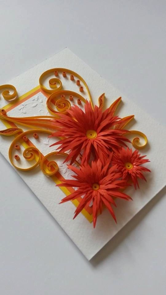 Beautiful Quilling Card With Flowers Mothers Day Card Birthday