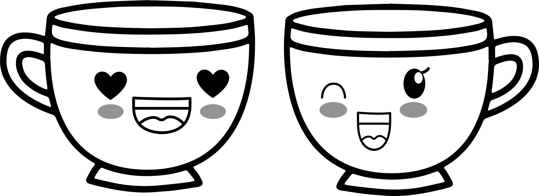 Teacup Coffee Cup Love Kawaii Anime Cup Coloring Page