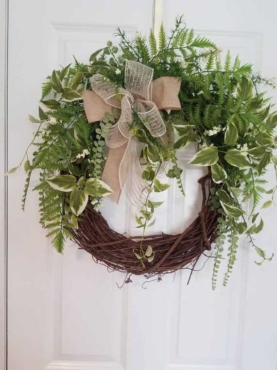 Photo of Summer wreath, wreaths for the front door, spring wreaths for the front door, front door wreath, wall art, front