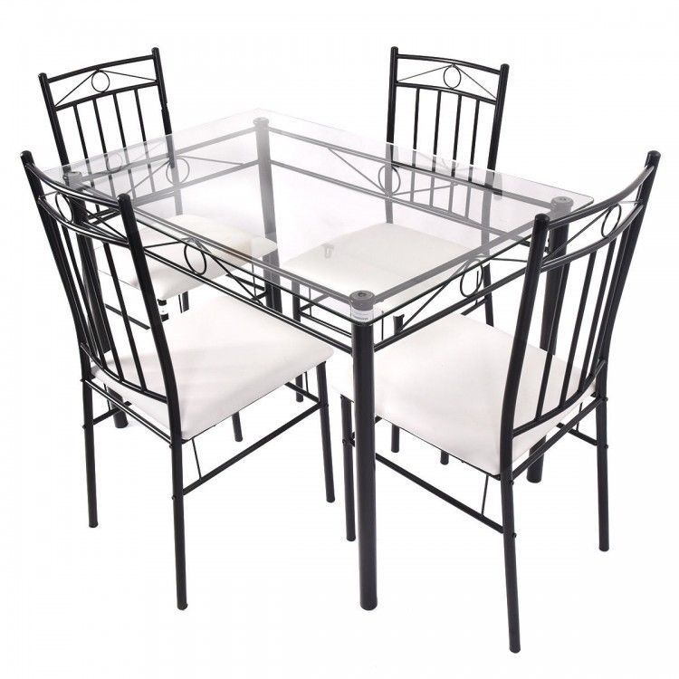 Modern 5 Pc Dining Set Glass Table Metal Chairs Kitchen Room Breakfast Furniture Diningsets Modern Metal Dining Room Dining Furniture Sets Metal Dining Set