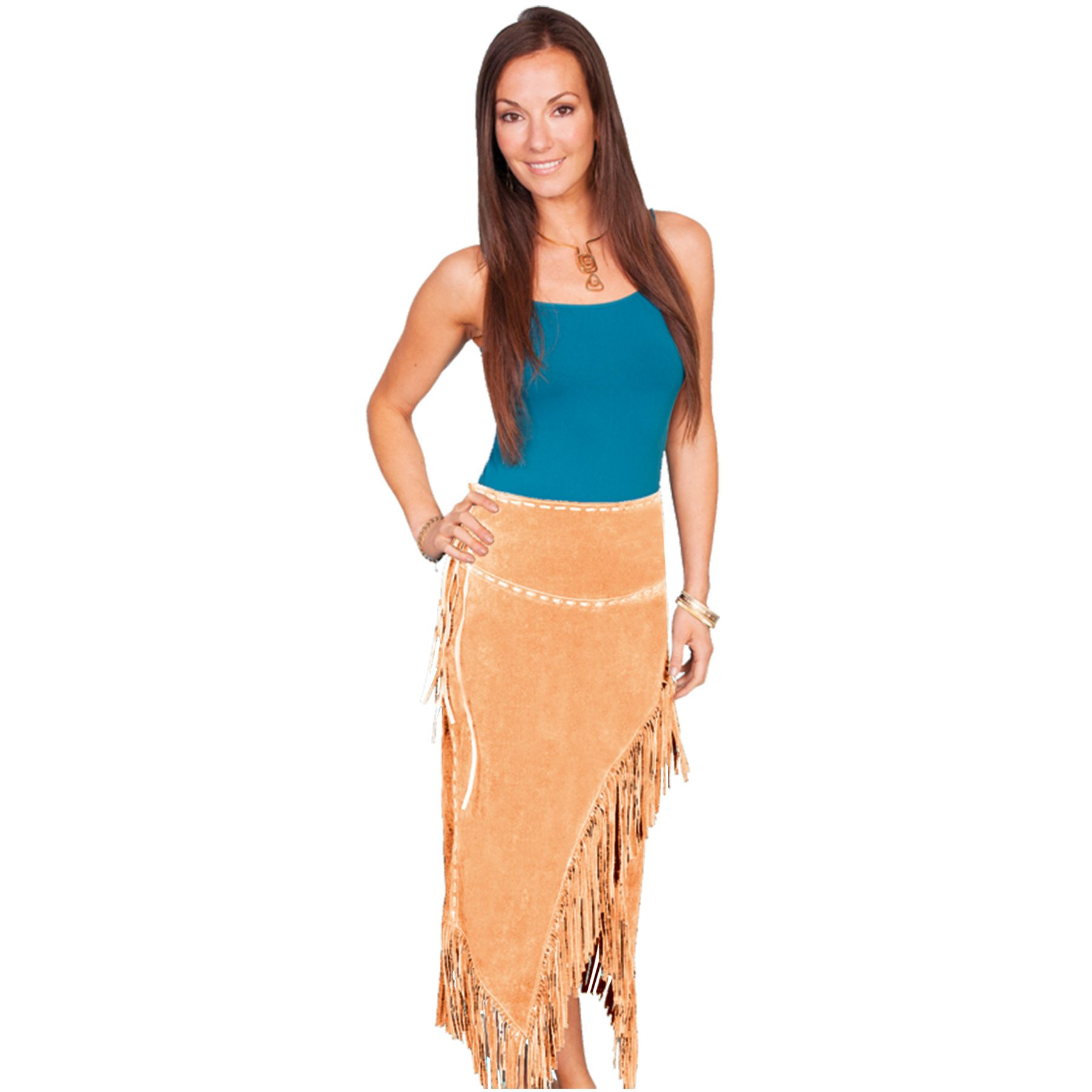 Scully Scully Ladies Long Suede Fringe Skirt Rust - Pricefalls.com