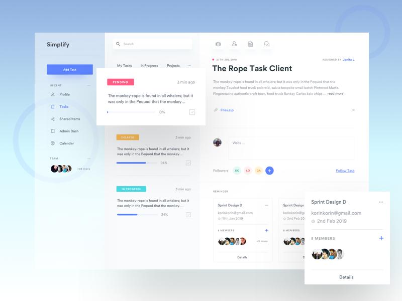 Task Manager Dashboard Design Web Design Web App Design