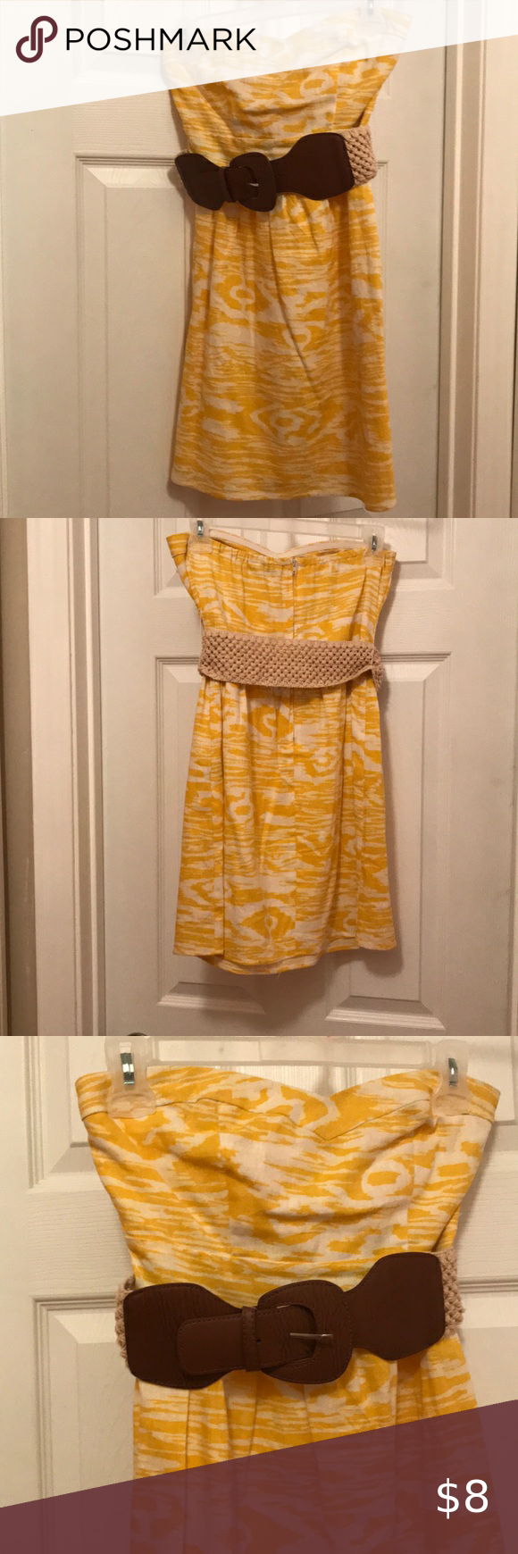 Yellow White Dress With Brown Belt Yellow And White Dress Brown Belt Clothes Design [ 1740 x 580 Pixel ]