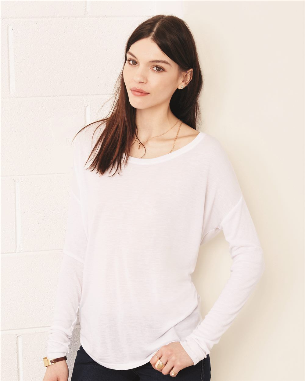 36f05fe8 Bella + Canvas 8852 - Women's Flowy Long Sleeve Tee with 2x1 Sleeves -  Wholesale and Bulk Pricing Available