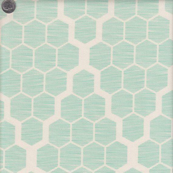 Cotton Home Dec Fabric Bungalow Joel Dewberry Hive Aqua Honeycomb